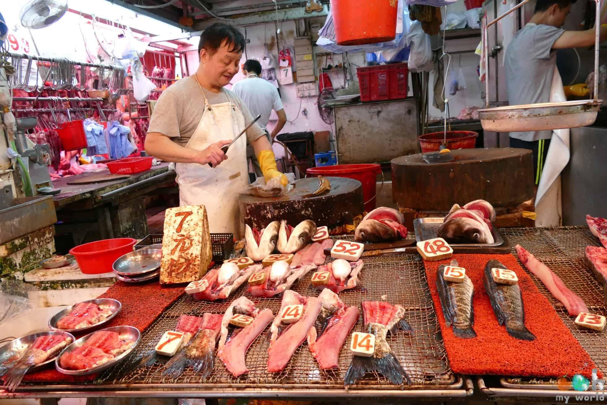 Poissonnier du quartier Sham Shui Poh à Hong Kong