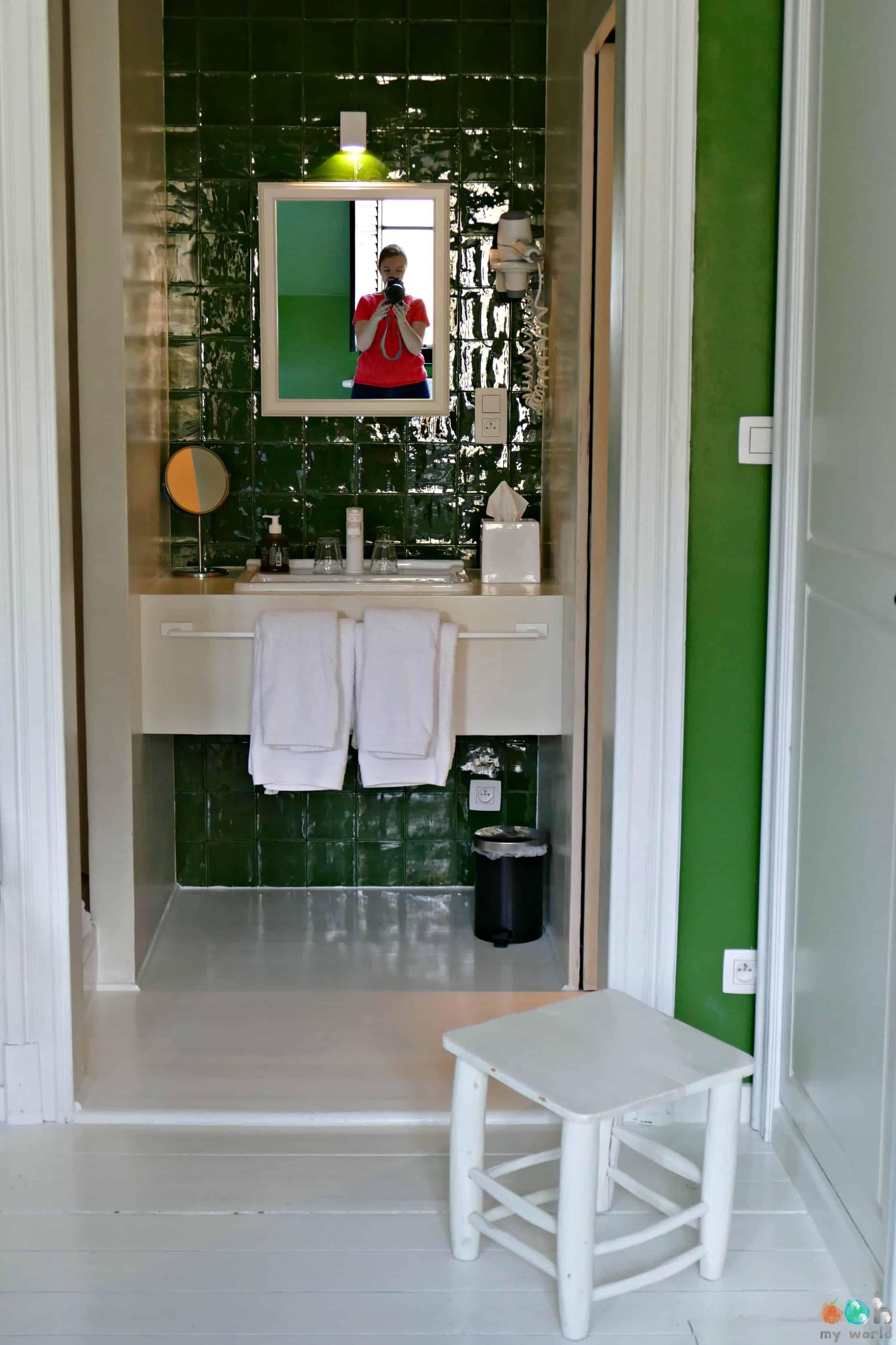 Salle de bain verte de la chambre végétale de la Maison Haute à Bruxelles