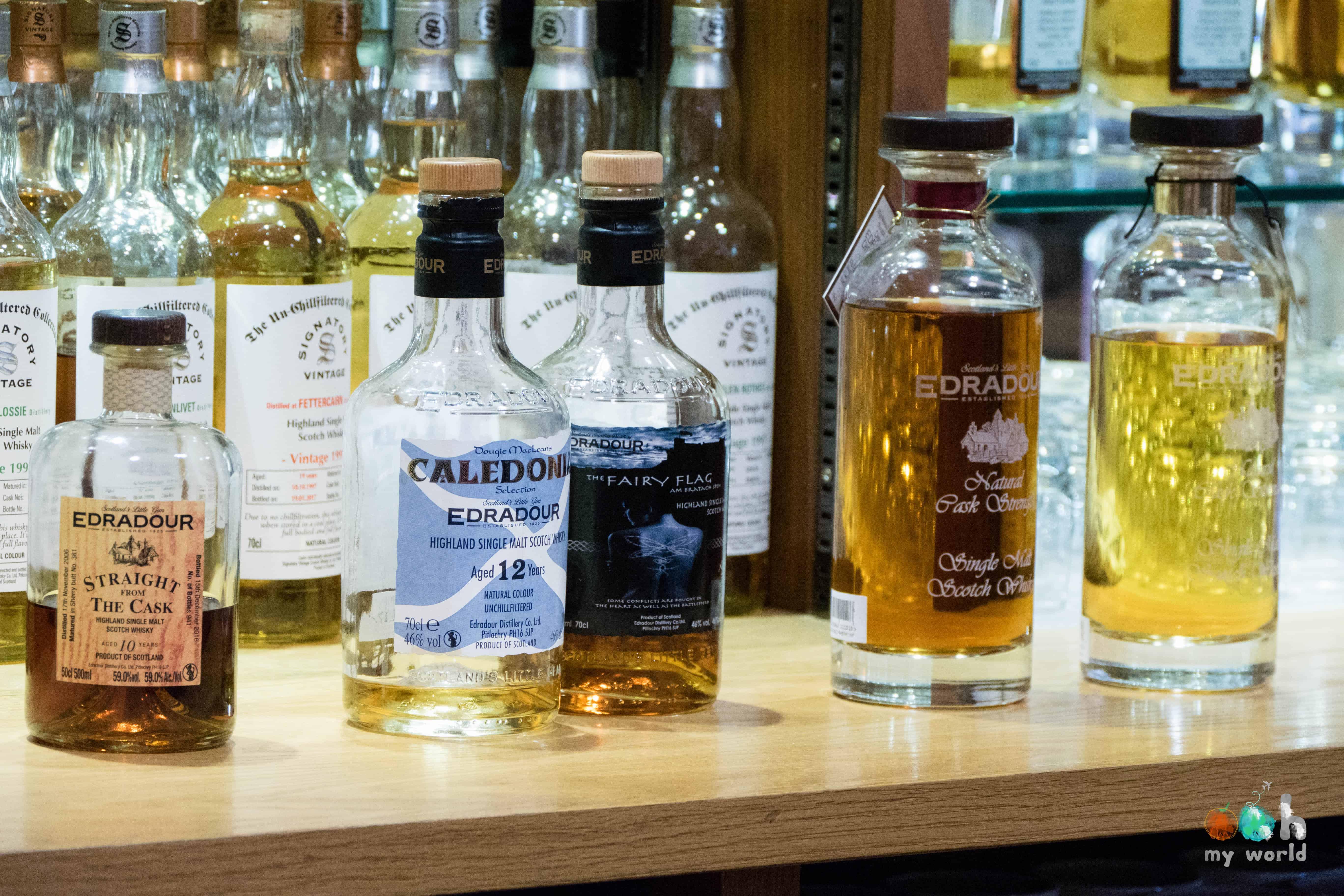 Les whiskies de la marque d'Edradour
